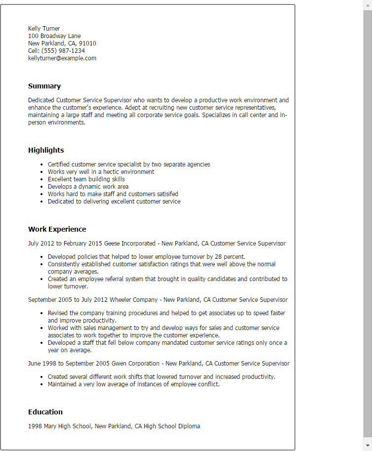 Supervisor Resume Skills. Operations Supervisor Resume Samples
