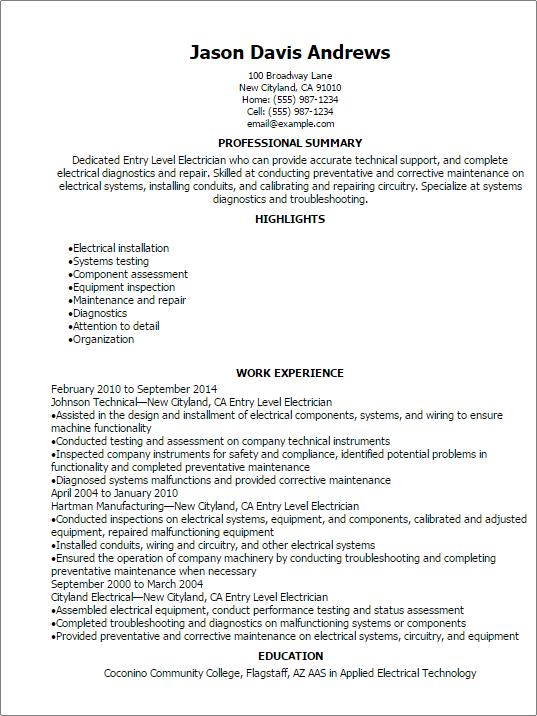Sample Resume Of Electrician. Industrial Electrician Resume Sample
