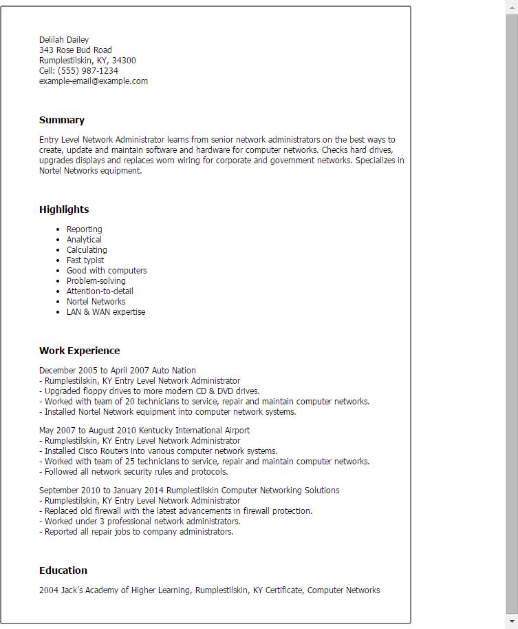 sample sql administrator