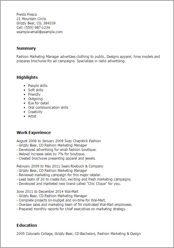 fashion resume templates fashion marketing manager resume templates