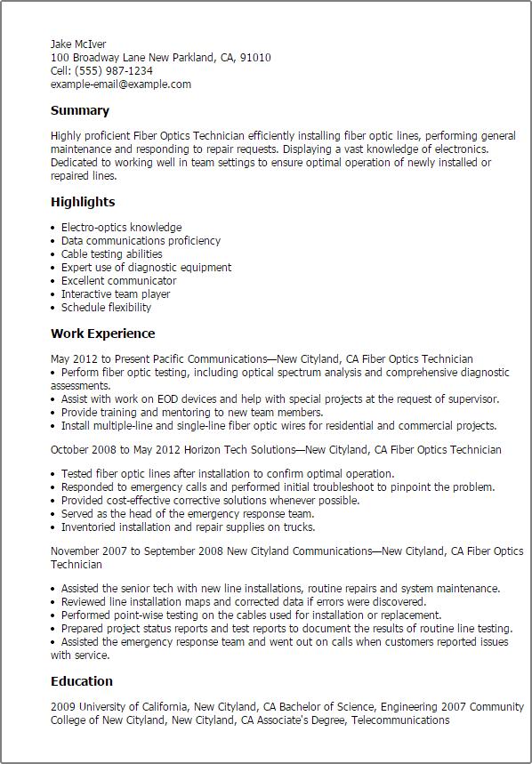 resume templates fiber optics technician