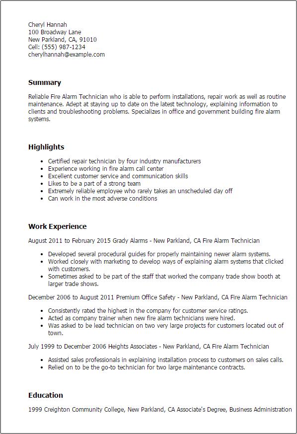 resume templates fire alarm technician
