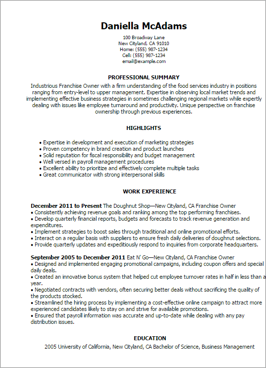resume templates franchise owner