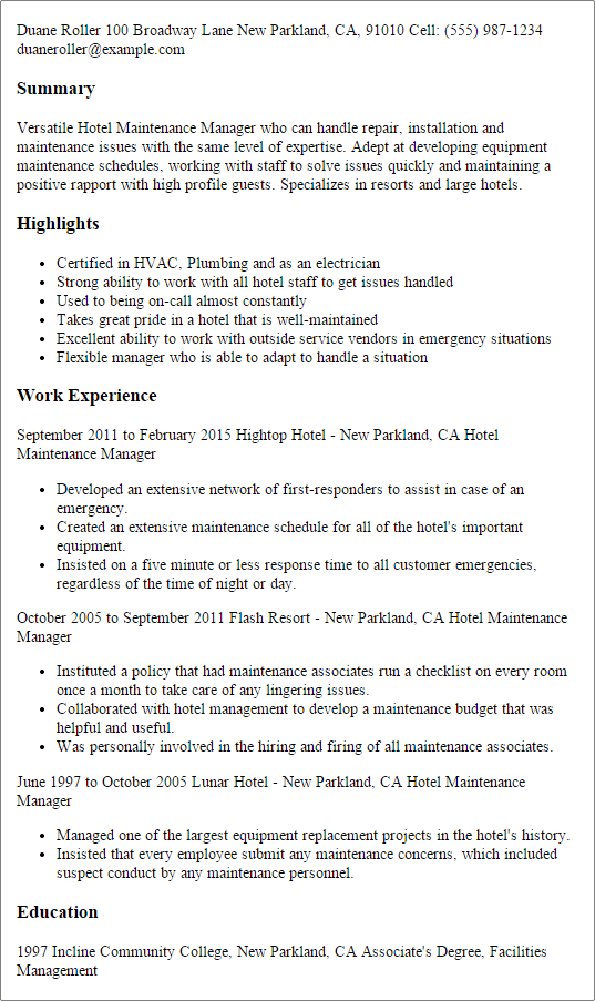 recipe for the perfect hotel maintenance manager resume