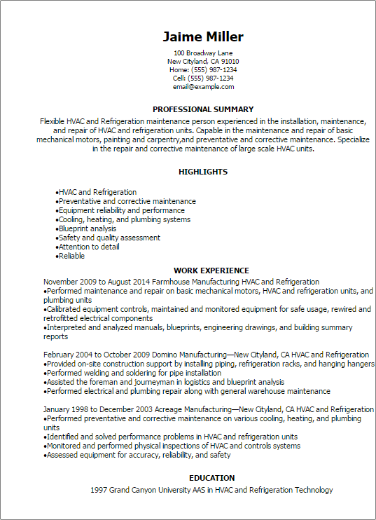 entry level hvac resume samples felis i found me resume