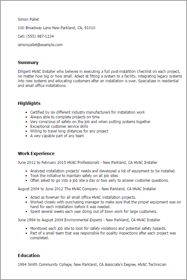 resume s lewesmr hvac job resume sample entry level resumes hvac