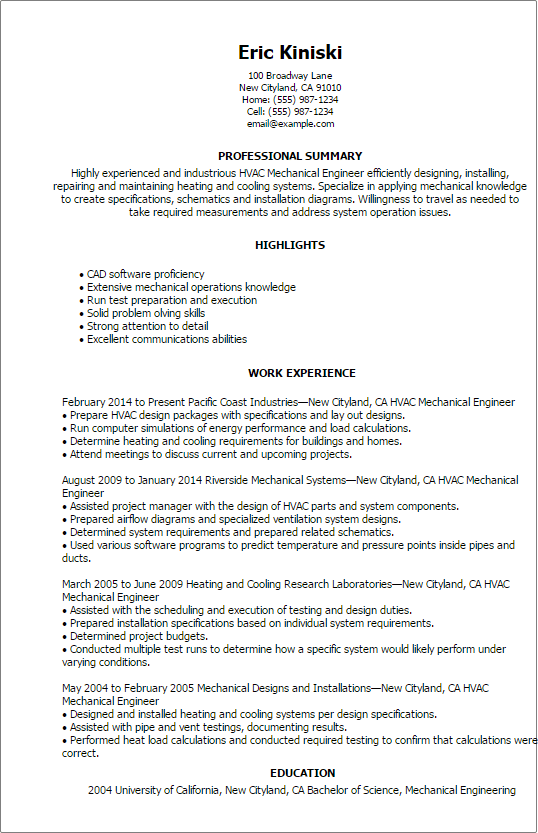 Hvac Resumes. examples hvac technician resume sample resumes sample ...