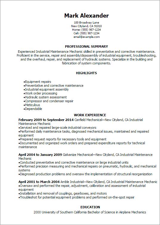 Aviation Resume Example. Aviation Maintenance Resume Examples