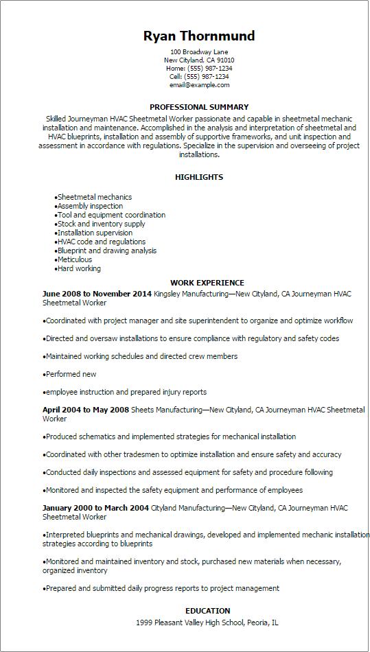 resume templates journeymen hvac sheetmetal worker resume resume