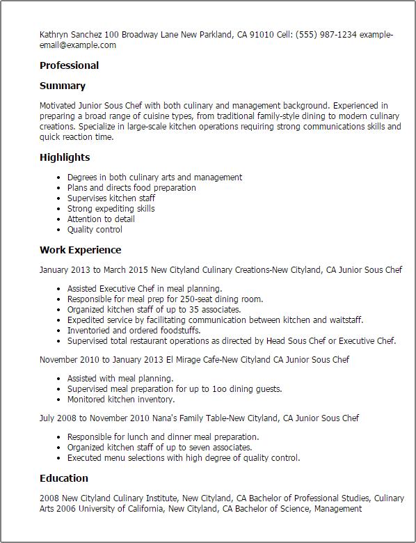 sous chef sample resume resume sample