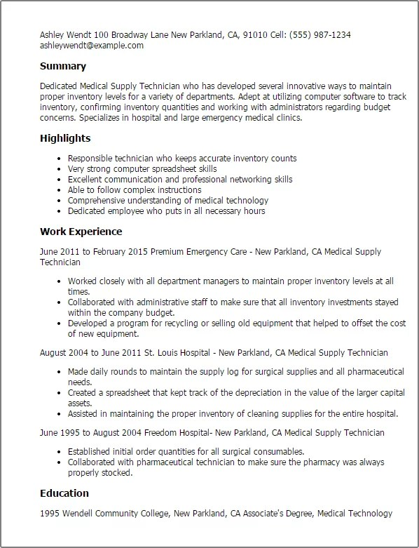 Medical Supply Technician Resume Example Myperfectresume