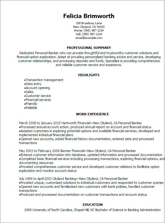 relationship banker resume