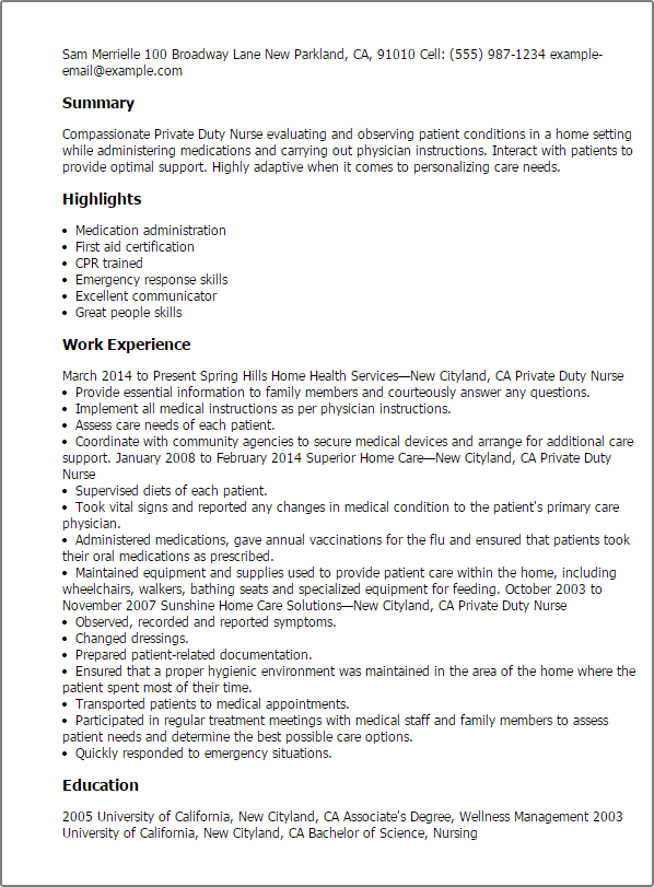 resume templates private duty nurse