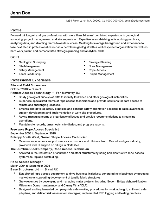 Oil and gas resume template resume sample professional oil and gas field supervisor templates to showcase yelopaper Image collections
