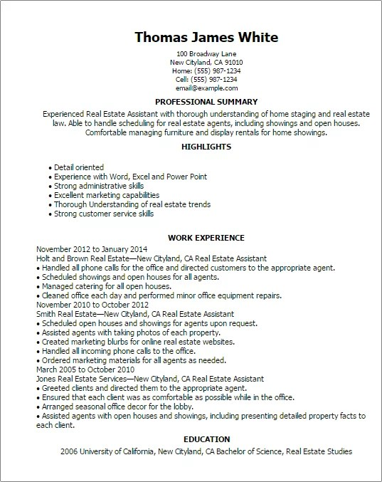 resume templates real estate assistant