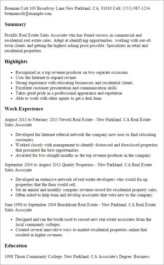 resume templates real estate sales associate