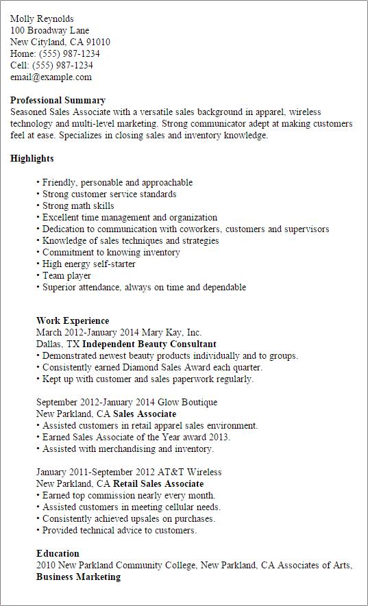 Sales Associate Resume Templates. Sales Associate Resume S