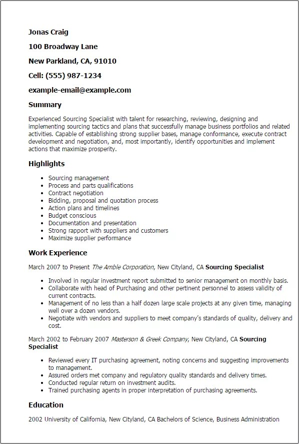 recipe for the perfect sourcing specialist resume