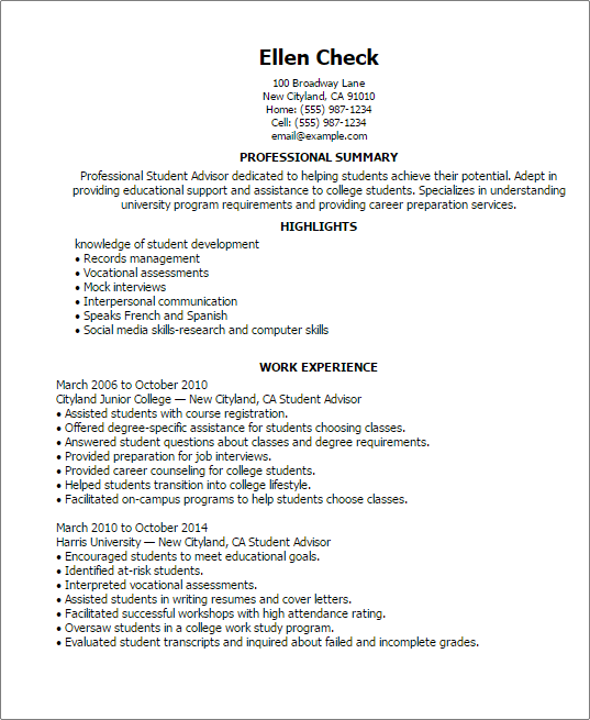 1 student advisor resume templates try them now myperfectresume