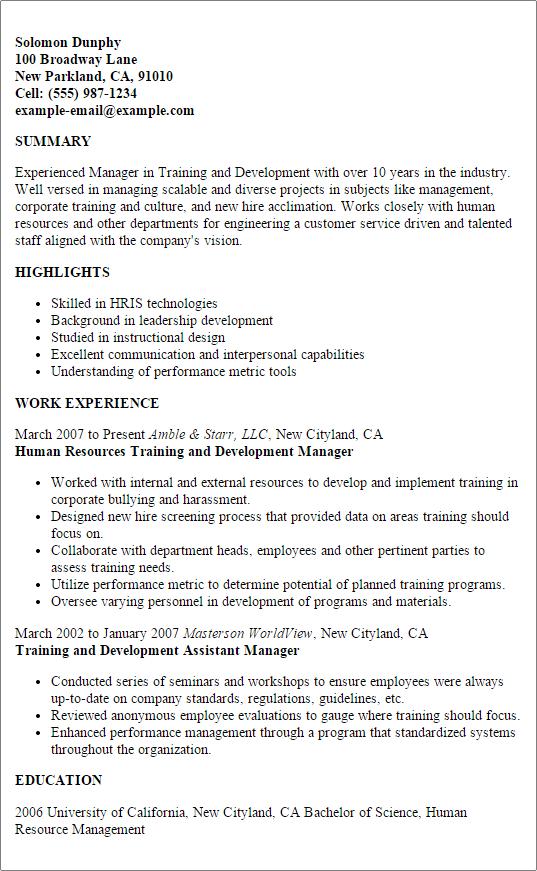 training and development resume resume sample - Training And Development Resume Sample