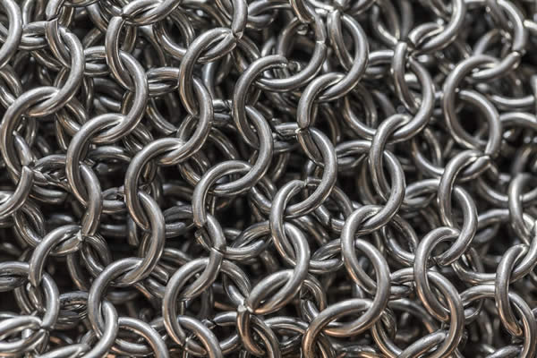 a close-up image of chain mail