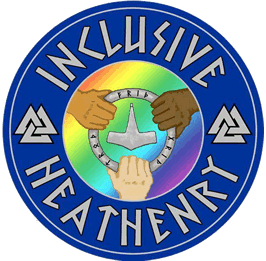 "a circular symbol with a blue border shwoing three hands clasping a ring in which Thor's hammer is pictured. the hands are of three different skin tones. The caption reads ""Inclusive Heathenry"""