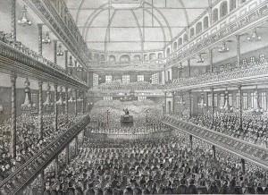 Spurgeon preaching, circa 1858