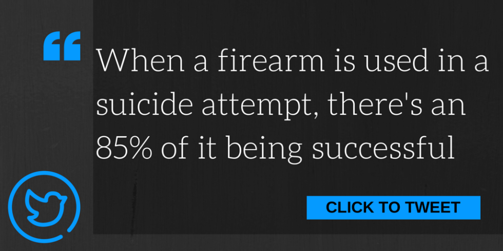 When a firearm is used in a suicide attempt, there's an 85% chance of it being successful.