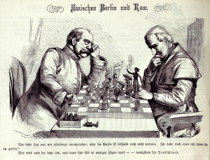 """( """". Zwischen Berlin und Rom"""" Bismarck enfrenta el Papa Pío IX en una caricatura del 16 de Mayo, 1875 edición de la Fuente """"Kladderadatsch."""": Wikimedia, Creative Commons License)."""