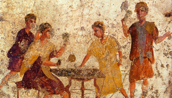 Dice players at Saturnalia - wall painting from Pompeii (Wikipedia)