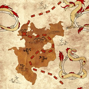 Map with Dragons (courtesy of Shutterstock.com)