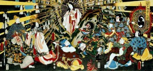 "Japanese Sun goddess Amaterasu emerging from a Cave,""ORIGIN OF IWATO KAGURA DANCE"""