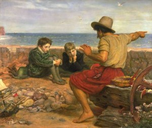 """The Boyhood of Raleigh"" by John Everett Millais - Transferred from en.wikipedia; transfer was stated to be made by User:Mattis. Original uploader was Rednblu. Licensed under Public Domain via Commons - https://commons.wikimedia.org/wiki/File:Millais_Boyhood_of_Raleigh.jpg#/media/File:Millais_Boyhood_of_Raleigh.jpg"