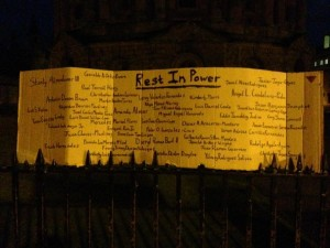 Rest in Power: names of the 49 victims of the Orlando Shooting. A placard at the Oxford vigil for Orlando. Photo by Yvonne Aburrow