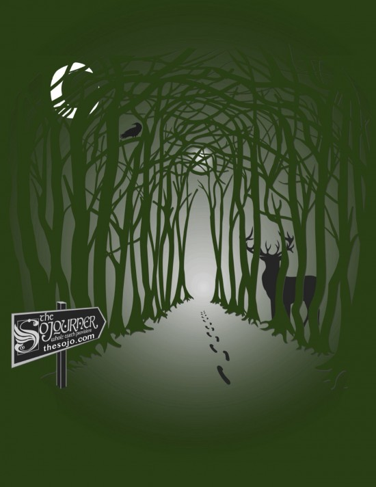 Image of a path through a forest with a buck, crescent moon and pentacle