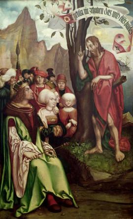 """""""St. John the Baptist Preaching Before Herod,"""" Hans Fries, 1514."""