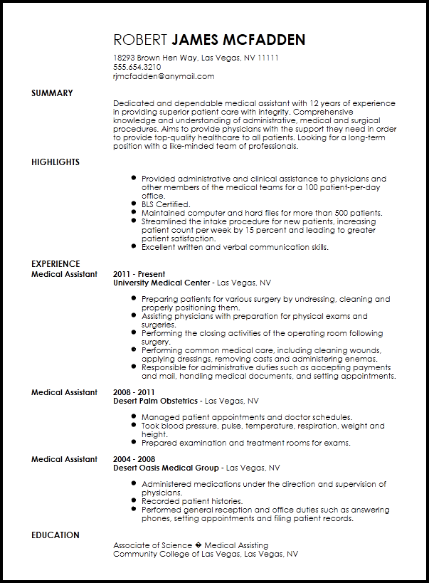 Free Traditional Medical Assistant Resume Template ResumeNow