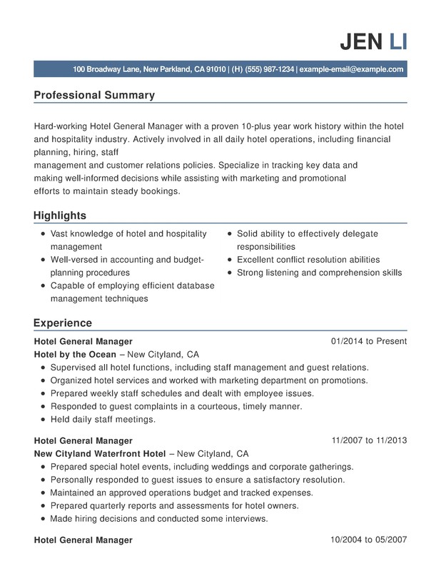 Hotel Amp Hospitality Combination Resume Samples Examples