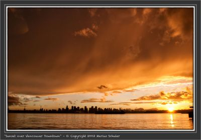 Sunset over Vancouver Downtown