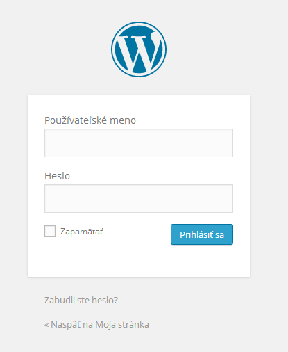 Prihlasenie do WordPress