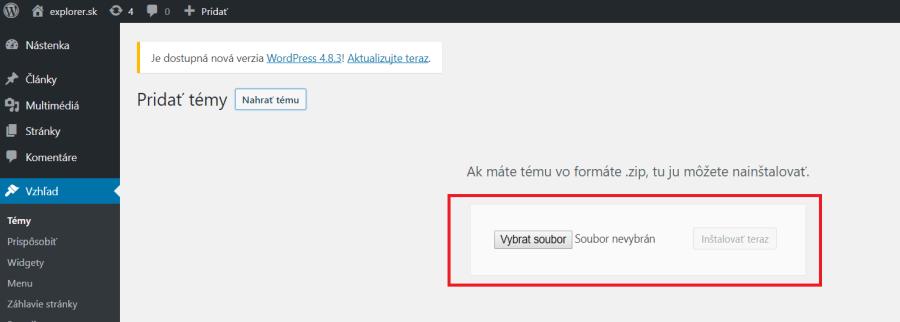 Inštalácia platenej blogovej šablóny na WordPress