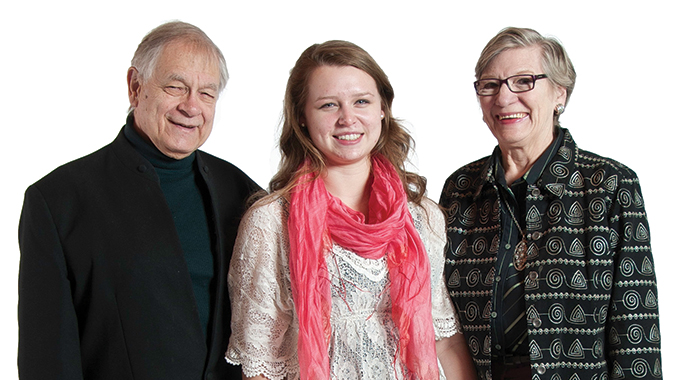 Mac Gimse '58, Cassie Rickertsen '14, and Jackie Gimse