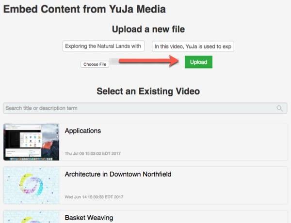 Enter Title and Description, then select Upload.