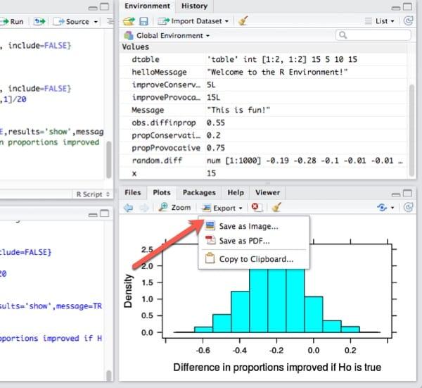 Export graphs in Plots tab.