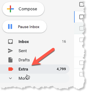 Screenshot of where labels are found in sidebar