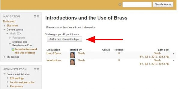 """Screenshot of online forum with arrow pointing to """"Add new discussion"""" button"""