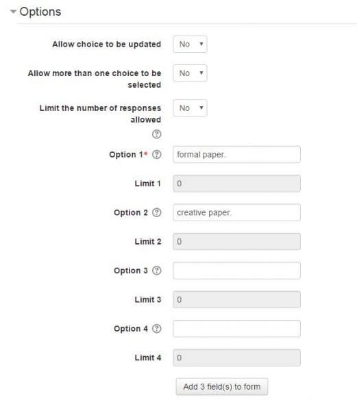"""Screenshot of online settings page with title """"Options"""""""