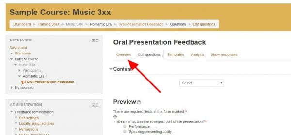 "Screenshot of online feedback settings with arrow pointing to ""Overview"" tab in upper left"