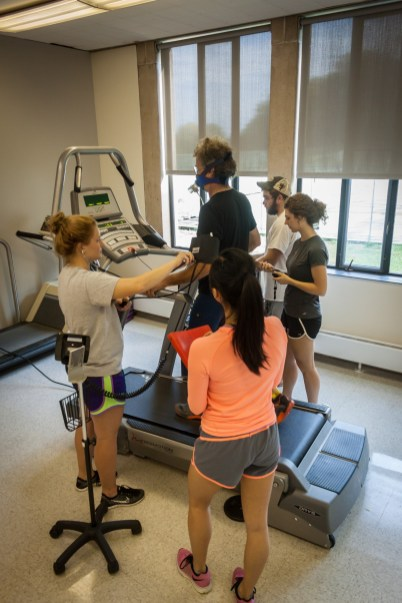 Administering a VO2 Max test.