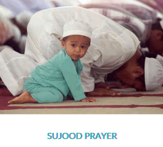 """Baby and man praying with the caption """"Sujood Prayer"""""""